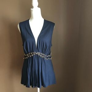 Venus Deep-V Sleeveless Blouse with Gold Chains